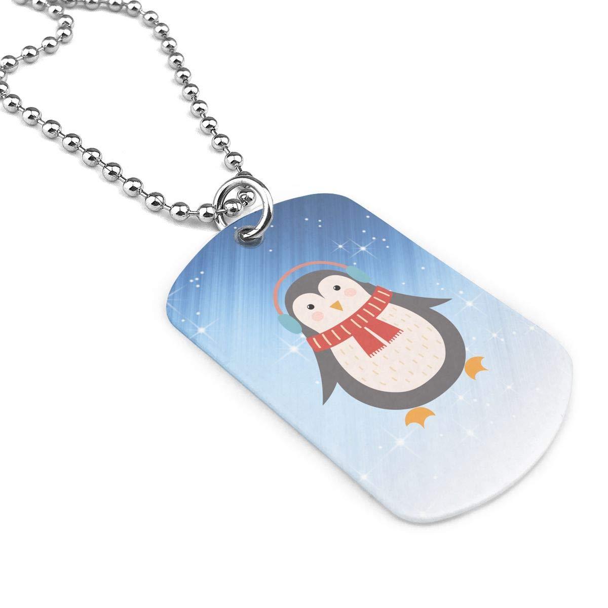 Military Necklace Penguin Custom Zinc Alloy Pendant Necklace Dog Tags