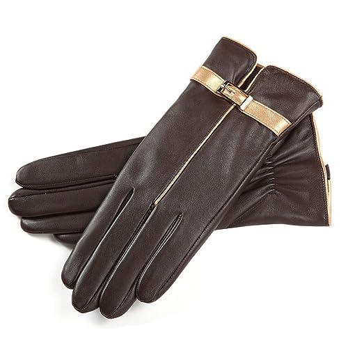 La mujer suave invierno Badanas Real Pantalla Táctil Guantes de cuero forrados cálida conducción