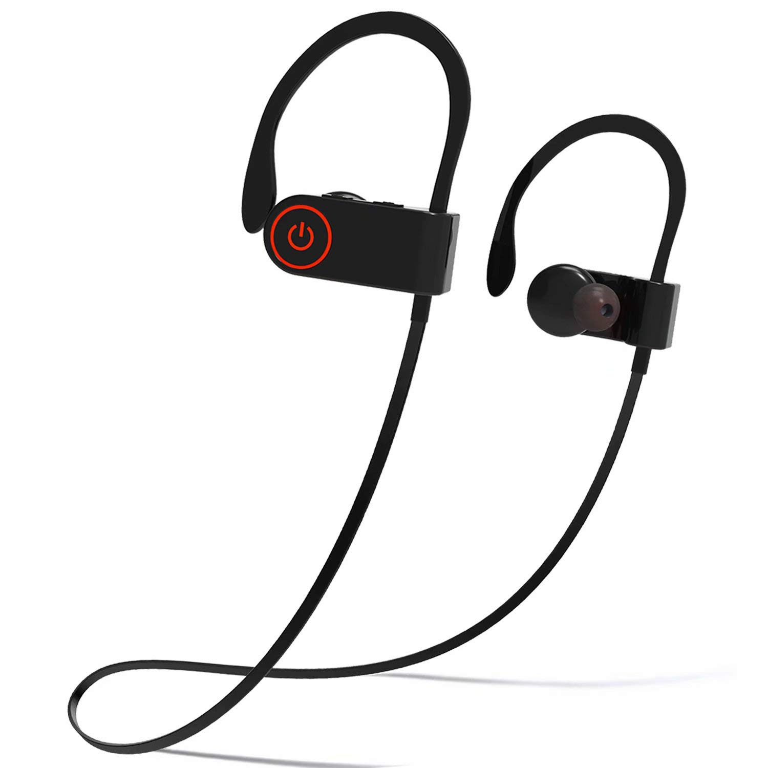 Bluetooth Headphones, Waterproof IPX6 Wireless Earbuds Sport, Richer Bass HiFi Stereo in-Ear Earphones w Mic, Noise Isolating Headsets Comfy Fast Pairing Secure Fit for Gym Running Workout, Black