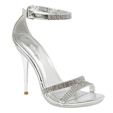 ea6edfffb83 Perfect Me Women s High Heel Bride Rhinestone Glitter – Evening Wedding  Sandals – Silver