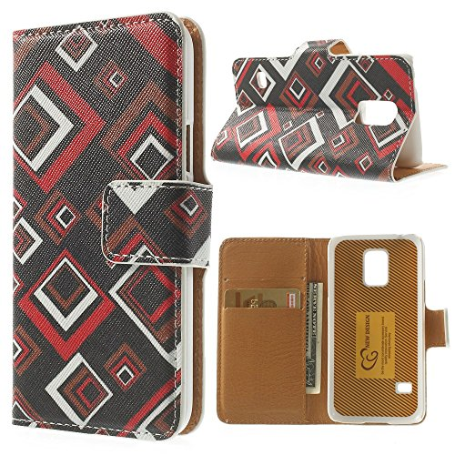 For Samsung Galaxy S5 mini G800 Magnetic Flip Leather Wallet Cover - Colorful Checks