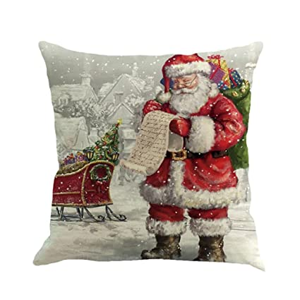 pillowcase zulmaliu christmas home decor santa claus snow printing square pillowcases multicolor h - Amazon Christmas Home Decor