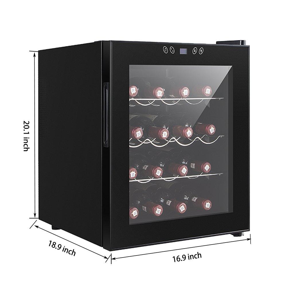 SMETA 16 Bottles Thermoelectric Mini Wine Cooler refrigerator Counter Top Bevarage Beer Cooler Fridge with LED Display