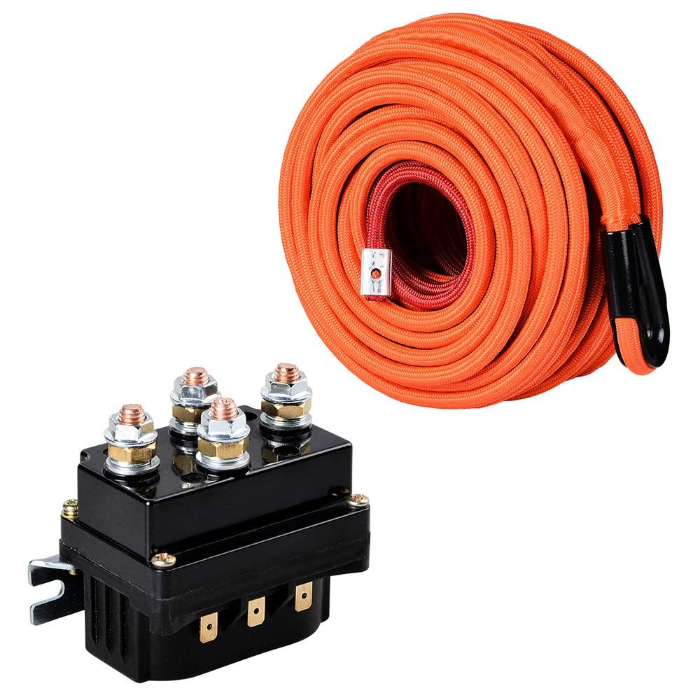 Orange 95ft x 3/8'' Synthetic Winch Rope Cable Heat Rock Guard & 12V 500A Winch Solenoid Relay For 8000lbs-12000lbs ATV UTV Electric 4WD Winches by Astra Depot