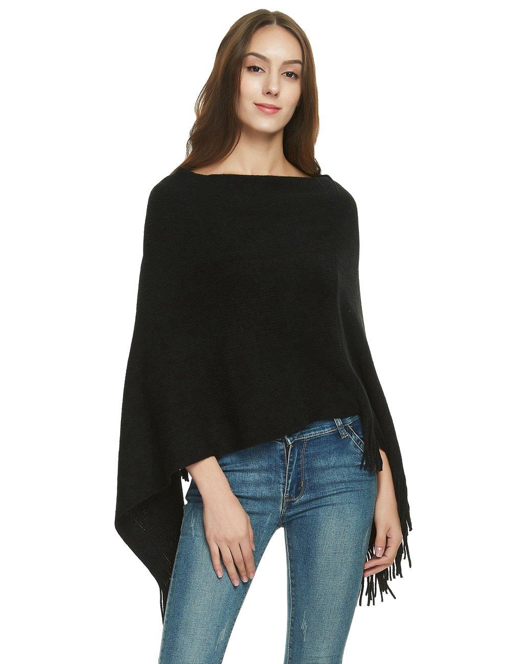 Ferand Women\'s Elegant Knit Poncho Sweater Soft Wrap Shawl Black