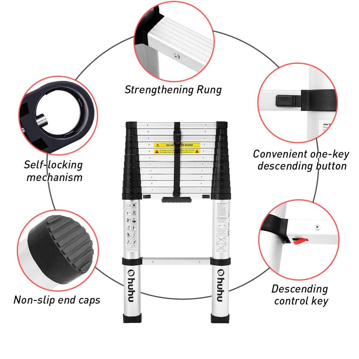 Escalera de extensi/ón telesc/ópica de Aluminio certificada de 3,8 m Cinta Antideslizante y Capacidad de 150 kg con Mecanismo de Bloqueo de Resorte Ohuhu