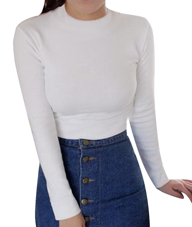 TRENDY XU Women Long Sleeve Crop Blouse Midriff Tee Slim Fit Shirt