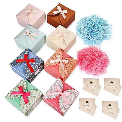 (Artcruise Gift Boxes 8 Pack & 2 Crinkle Cut Paper Shred Filler & 8 Greeting Cards,Decorative Boxes for Small Gifts,Favor Boxes for Christmas,Wedding,Birthday,Party,Holidays)