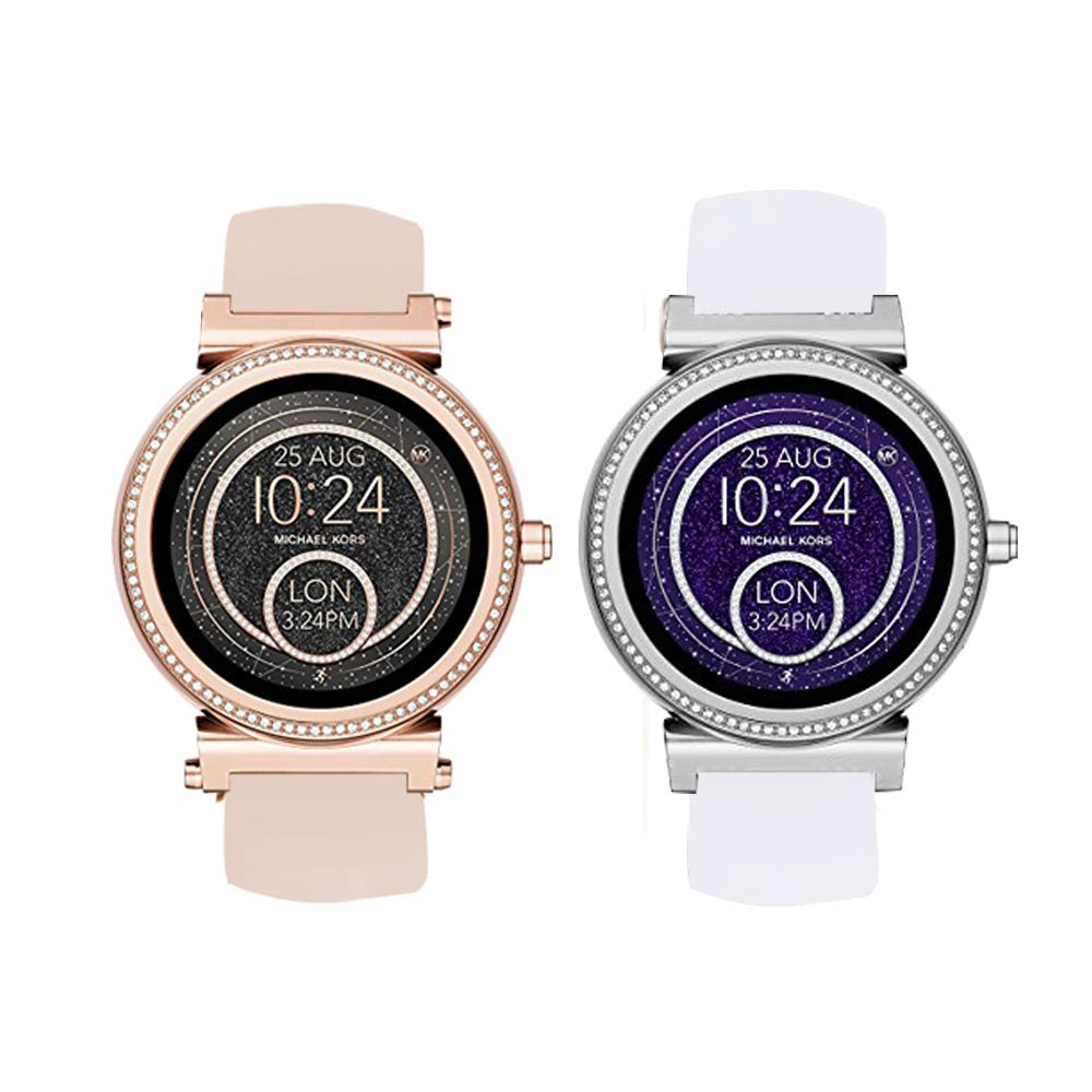 Compatible for Michael Kors Sofie Band, Blueshaw Sport Silicone Replacement Strap for Michael Kors Access Sofie Smartwatch (2 Pack-White+Pink)
