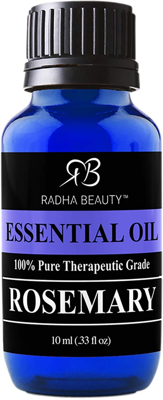 Radha Beauty Rosemary Essential Oil 10ml - 100% Pure Therapeutic Grade, Steam Distilled for Aromatherapy, Relaxation, Scalp Treatment, Healthy Hair Growth, Anti-aging, Dry Skin, Acne Skincare