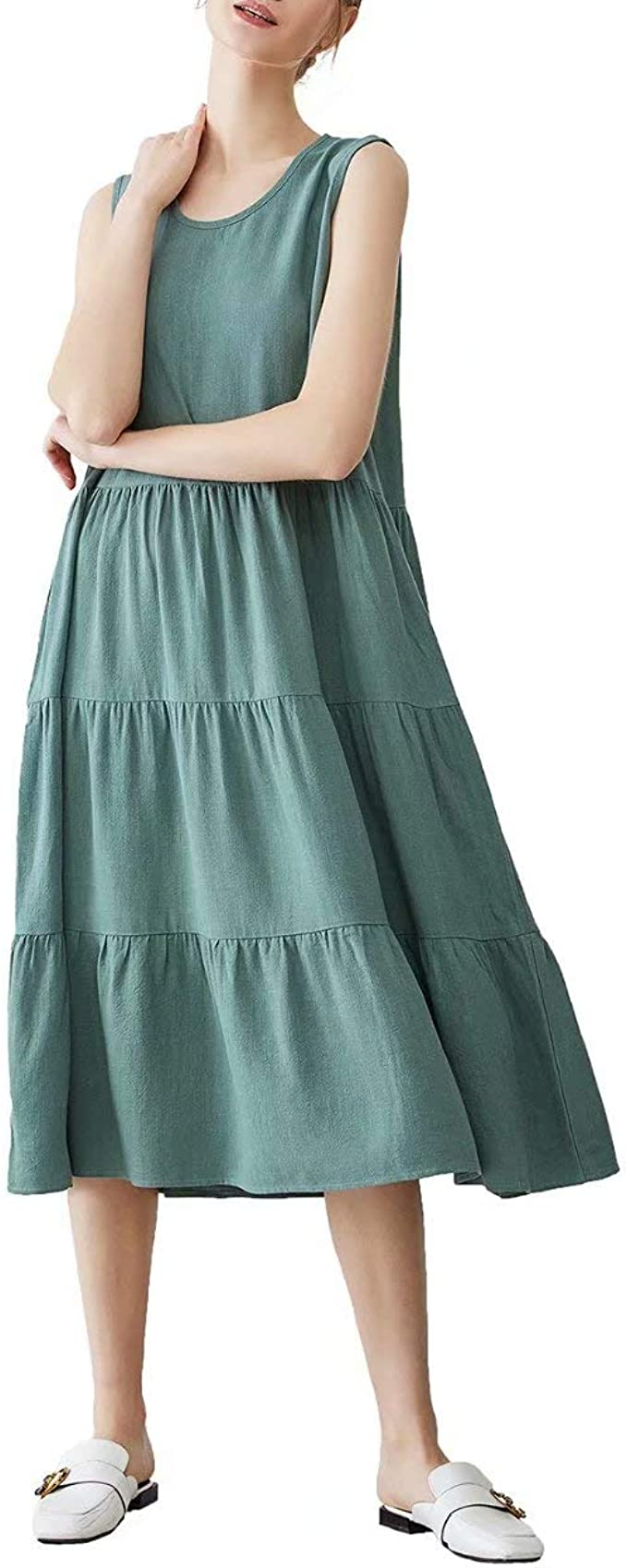 Work Linen Dress breastfeeding friendly maxi