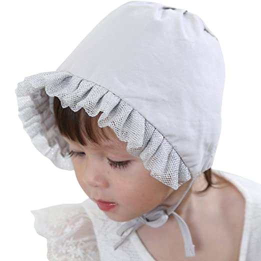 Niyage Cute Baby Girl Sun Hat with Chin Strap Baby Bonnets Thin Pilot Cap  Gray 5bc15bdaf80a