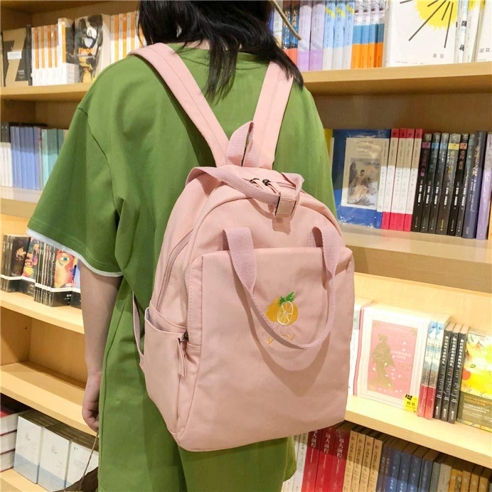 POUPDM Ryggsäck för kvinnor ny frukt broderi kvinnor ryggsäck liten fräsch vattentät nylon enfärgad axelväska flickor skolväska Svart