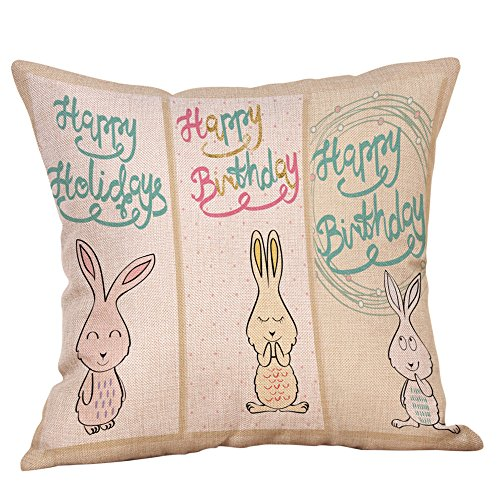 JFLYOU Cute Animal Bunny Rabbit Colored Egg Flower Easter Blessing Gift Throw Pillow Case(Multicolor,I)