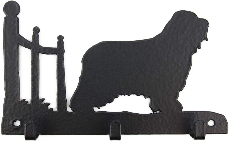 Tierisch-tolle Geschenke Bearded Collie Leinengarderobe Schl/üsselbrett Garderobe mit Hundemotiv