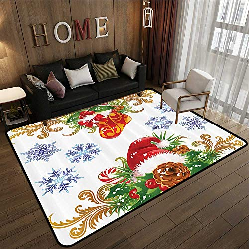 "Kitchen Floor mats,Christmas Winter,Ornaments Christmas Retro Decorative with Stocking and Santa Hat Mistletoe Snowflakes Classic Theme,MUL 47""x 59"" Door Mat Living Room Non-Slip"