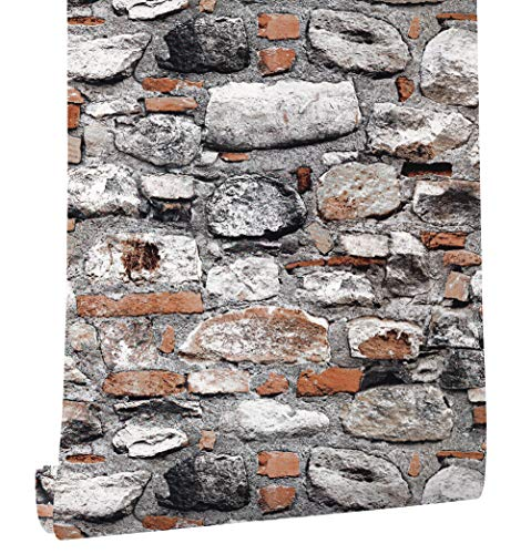 HaokHome 620642 Peel & Stick Rock Stone Wallpaper Orange/Tan/Grey Self Adhesive Contact Paper Wall Furniture Sticker