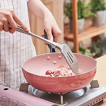 Sartén Cerámico Antiadherente Multifunción Redondo Wok Anti-Escaldado Manejar Gas Cocina Inducción General Propósito Cocina Utensilios,24Cm+Colander: ...