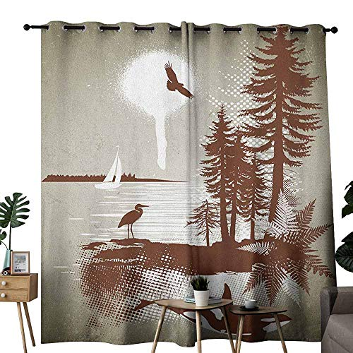 (duommhome Nautical Thermal Curtains Detailed Complex West Coast Scenery Graffiti Style Nature Inspired Art Print Suitable for Bedroom Living Room Study, etc.W84 x L108 Sage Green Brown)