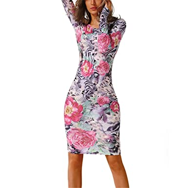 CHOUHOU Long Sleeve High Elastic Floral Dresses Sexy Party Dresses -S