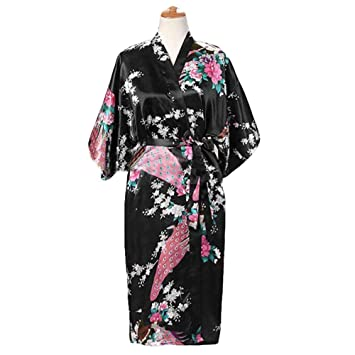 Negro - Pavo Real/Flores Albornoz Largo de Mujer Bata de Kimono Pijamas de Seda-como: Amazon.es: Hogar