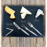 +Hot+ Gourmet 16 x 12 Inch Slate Cheese Board Set w/ 3 Forged Stainless Steel Cheese Knives & Soap Stone Chalk Premium Slate Cheese Tray and Cheese Platter