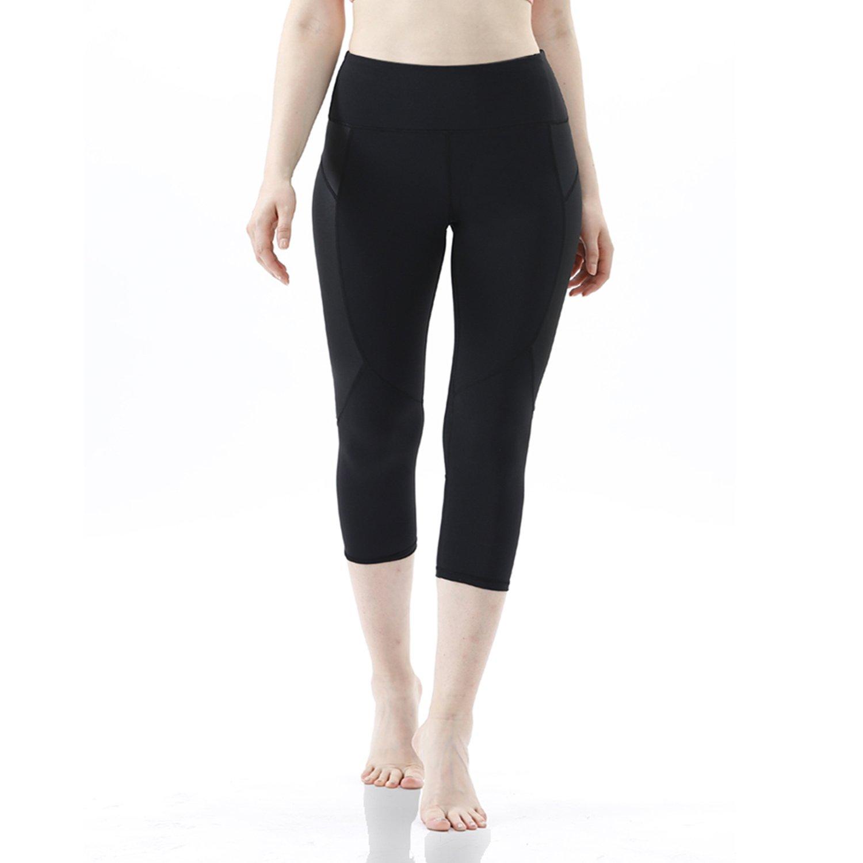 X031black RURING Women's High Waist Yoga Pants Tummy Control Workout Running 4 Way Stretch Yoga Leggings