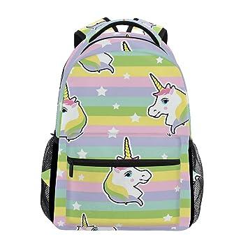 Mochila de Unicornio arcoíris, para Mujeres, Hombres, Adolescentes, niñas, niños, para la Escuela, para Libros, Suministros Informales: Amazon.es: ...
