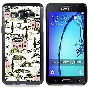 For Samsung Galaxy On5 O5 Case , Casas Arquitectura Rocas Naturaleza - Diseño Patrón Teléfono Caso Cubierta Case Bumper Duro Protección Case Cover Funda