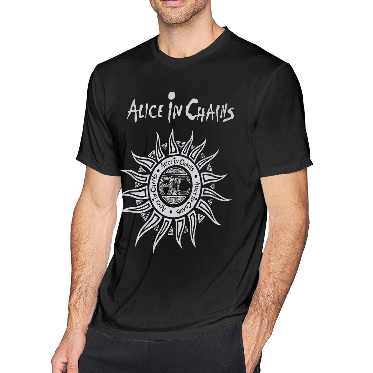 Hodenr Mens Fashion Alice in Chains T-Shirt Black