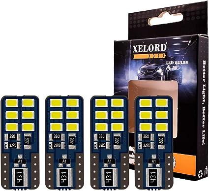 4 piezas XELORD T10 W5W LED Canbus Bombilla 12V Coche T10 LED 6000K Wedge Lampara sin polaridad para Coches de Interior Luces Coches Luces De La Matr/ícula Luces de posici/ón Luz Blanco