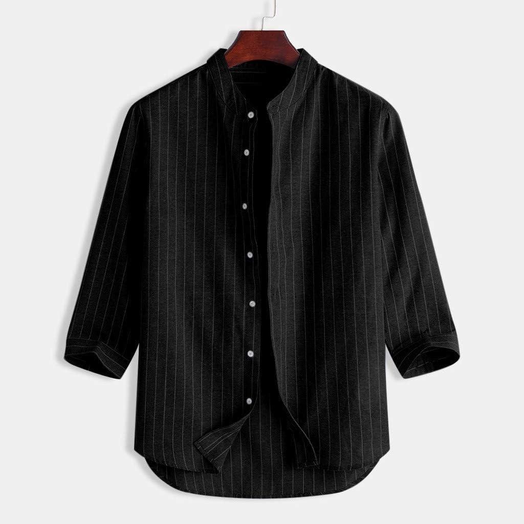 Mens Linen Shirt Casual Long Sleeve Button Down Cotton Lightweight Regular Fit Summer Beach Tops