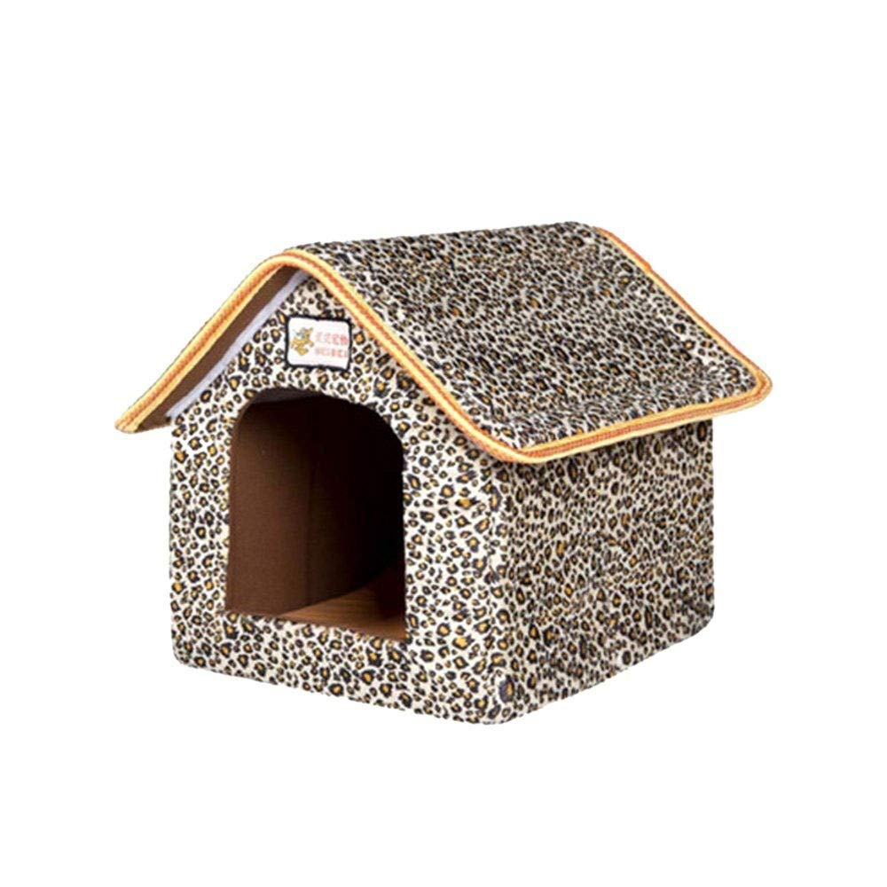 Leopard XS Leopard XS Pet Nest Movable Dog House Dog Hole Cat Hole Pet Nest Dog Bed Cat Bed Pet Sleeping Bag Small Animal Beds (color   Leopard, Size   XS)