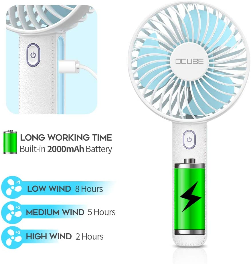 2000mAh Battery Operated USB Rechargeable Desk Fan OCUBE Handheld Fan Black 3 Speeds Electric Portable Personal Cooling Fan for Home Office Travel Mini Hand Held Fan with 7 Color LED Light Base