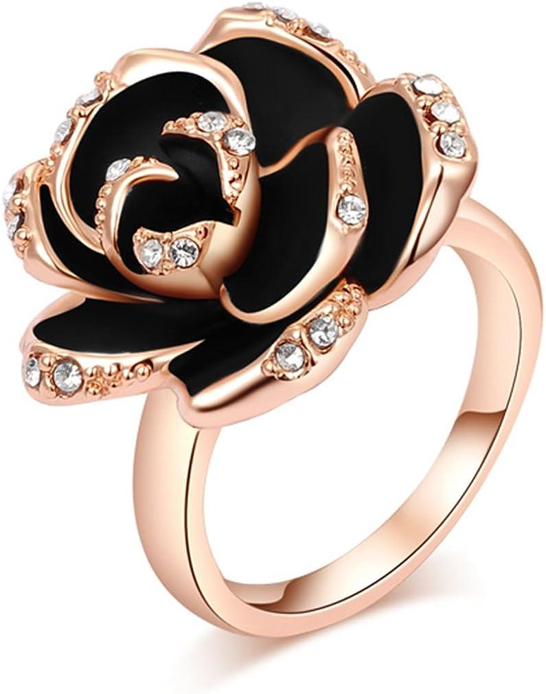 Cristal Austríaco oro rosa con diamantes negro rosa anillo