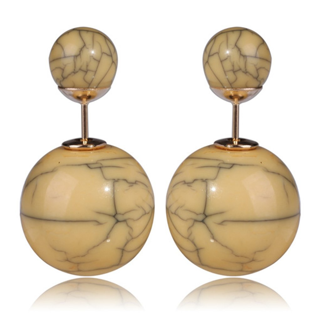 MMYOMI Imitation Marble Round Bead Ball Leverback Drop Earrings (coffee)