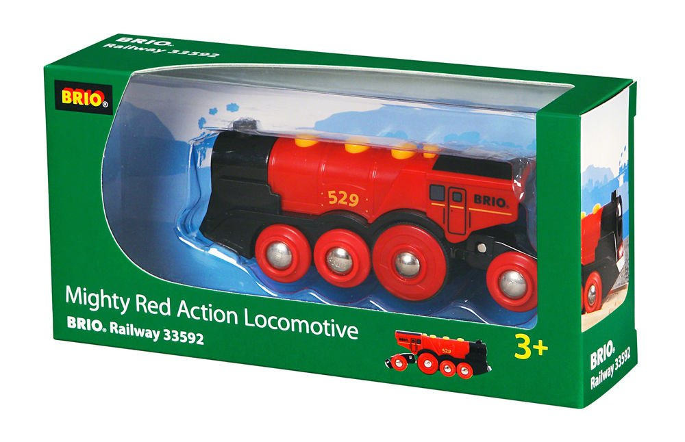 Brio Mighty Action Locomotive Toy Train, Red - Battery Operated Toy Train With Light and Sound Effects