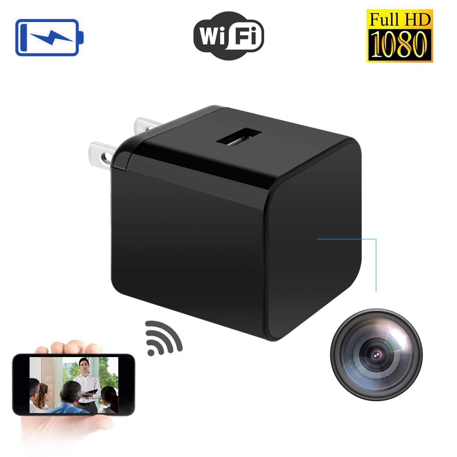 Kkeep Spy Camera 1080P Video Recorder Wireless IP Cameras Charger hidden camera Adapter Camera WiFi Remote View Home Small Mini Security Monitoring 140°Angle Nanny Cam Night Vision Motion Detection