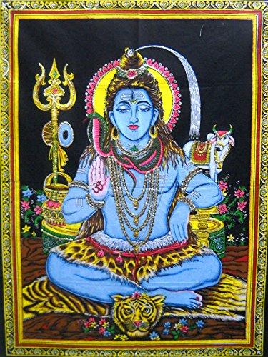 "India Crafts Blessing Lord Shiva Hindu God Batik Cotton Wall Tapestry 40"" X 30"""