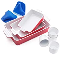 Vexilsy Baking Dish Set, Ceramic Bakeware Set Includes 3 Rectangular Nonstick Casserole Dish, 4 Ramekins, Silicone Double Finger Grip, Baking Pans for Lasagna Pan, Cooking, Cake,Dinner,Daily Use (red)