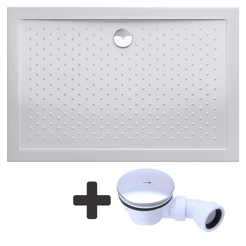Receveur de douche ultra plat 4cm bac a douche anti-glisse acrilique avec bonde AL02 LUCIA04AR 80X120X4
