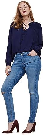 VIOLETA BY MANGO - Camisas - para mujer azul azul marino 44: Amazon.es: Ropa y accesorios