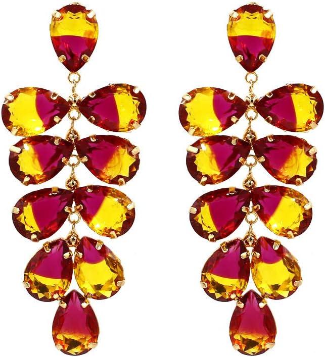 XIAOXX Pendientes de Piedras Preciosas de Colores exagerados Pendientes de Cristal con Incrustaciones de Hojas de Metal Pendientes