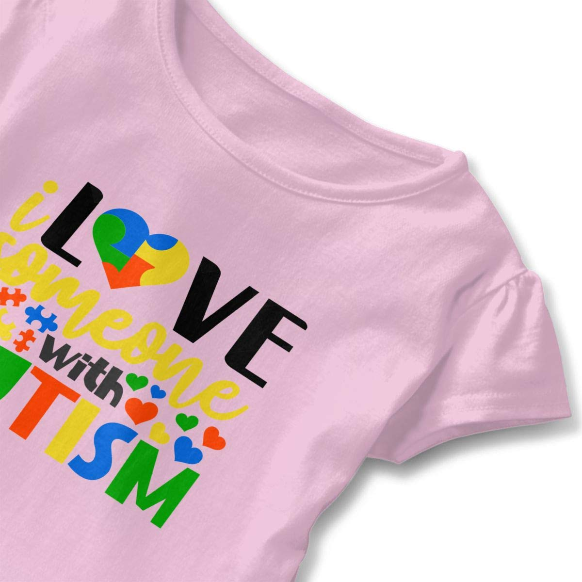 I Love Someone with Autism T-Shirt Baby Girl Flounced T Shirts Comfort Graphic T-Shirt for 2-6T Kids Girls
