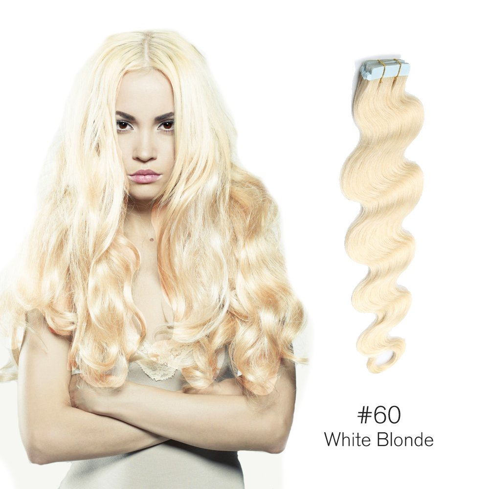 Good Tape In Hair Extensions 60 Wavy Human Hair Glue In Extensions