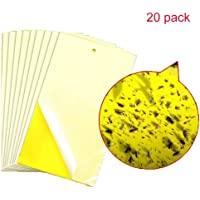 Sticky Fly Trap,Dual Side Yellow Sticky Traps Non-Toxic 6 * 10 Inch Fly Sticker for Plant Insect Like Fungus Gnat,Whitefly,Aphid,Leaf Miner,Other Flying Insectsd,Bugs(20 Pack)