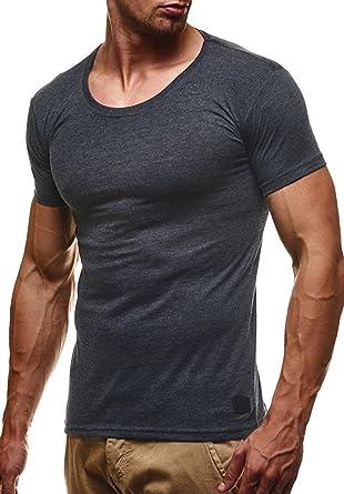 LEIF NELSON Herren T-Shirt Tiefer Rundhalsausschnitt   Basic Shirt Kurzarm  Slim Fit   Männer 54ece33cf9
