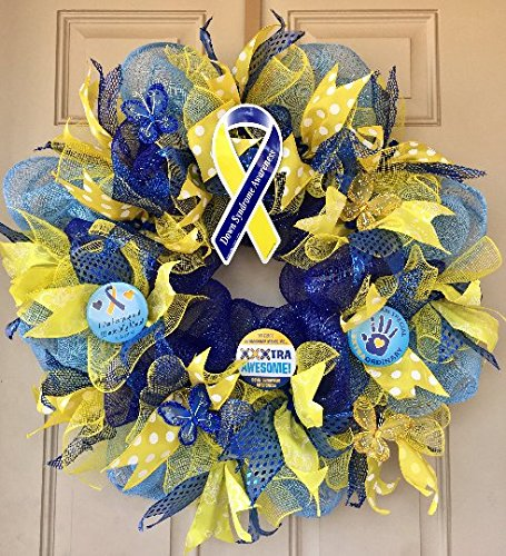 Down Syndrome Awareness Wreath with Awareness Ribbon, Metal Buttons with Awesome Quotes, Cute Butterflies