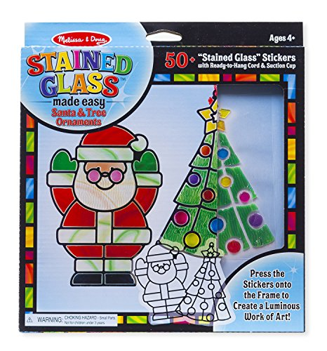 (Melissa & Doug Stained Glass Made Easy Activity Kit, Santa & Tree (Arts and Crafts, Develops Problem Solving Skills, 50+ Stickers))