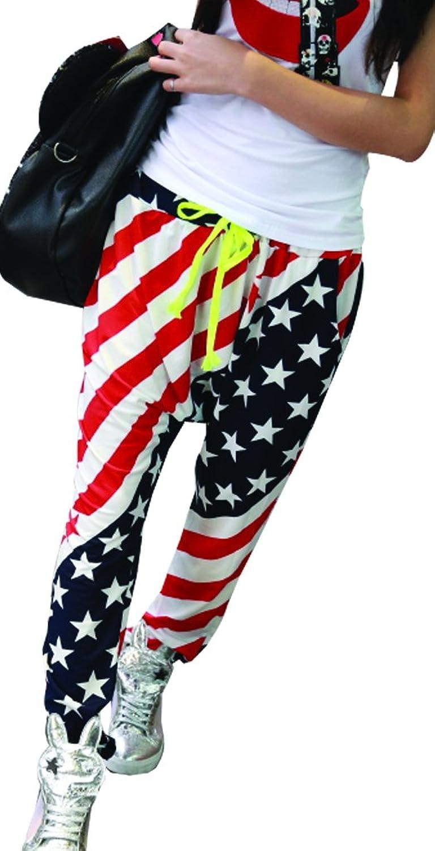 Easy Womens Dance Loose Hip Hop USA Flag Printing Haren Athletic Long Pants